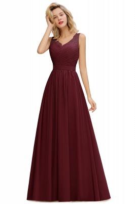 Schlichte Brautjungfernkleider Lang Chiffon | Rosa Kleid für Brautjungfern_3