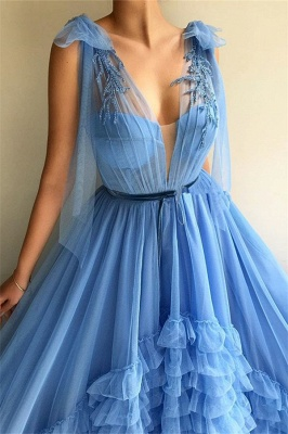 Elegant Evening Dresses Long V Neck | Prom dresses blue_2