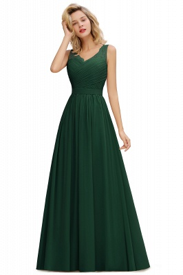 Schlichte Brautjungfernkleider Lang Chiffon | Rosa Kleid für Brautjungfern_4