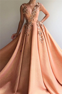 Elegant Evening Dresses Long V Neck | Prom dresses glitter