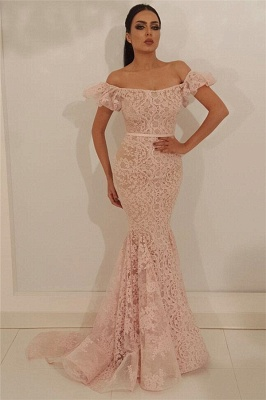 Beautiful evening dresses long pink | Lace prom dresses
