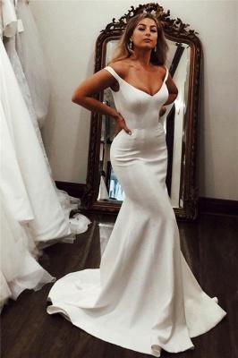 Schlichte Hochzeitskleider Satin | Brautkleider Meerjungfrau Online_1