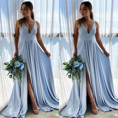 Blue Evening Dresses Long V Neck | Buy prom dresses online_1