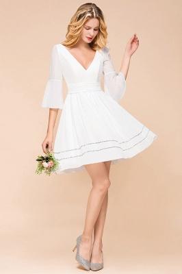 Weiße Brautjungfernkleider mit Ärmel | Kurzes Brautjungfernkleid_4