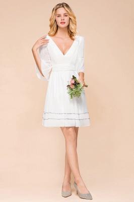 Weiße Brautjungfernkleider mit Ärmel | Kurzes Brautjungfernkleid_6