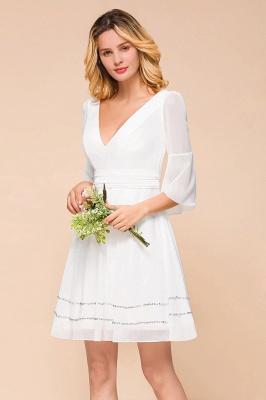 Weiße Brautjungfernkleider mit Ärmel | Kurzes Brautjungfernkleid_8