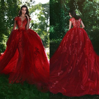 Elegant Red Evening Dresses Long Me Lace Cheap Tulle Evening Wear Prom Dresses_2
