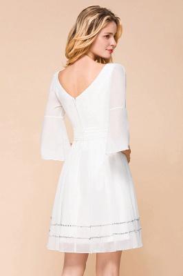 Weiße Brautjungfernkleider mit Ärmel | Kurzes Brautjungfernkleid_9