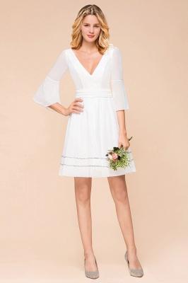 Weiße Brautjungfernkleider mit Ärmel | Kurzes Brautjungfernkleid_1