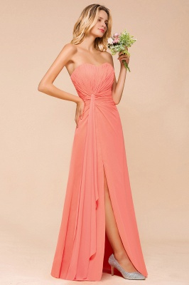 Coral Brautjungfernkleider Lang Chiffon | Kleider für Brautjungfern_7