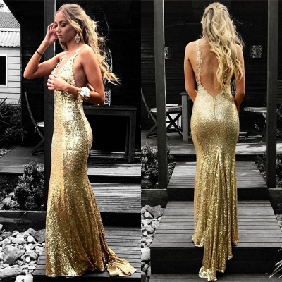 Simple evening dresses long cheap sequins prom dresses evening wear online_3