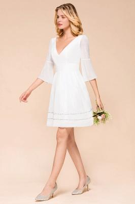 Weiße Brautjungfernkleider mit Ärmel | Kurzes Brautjungfernkleid_5