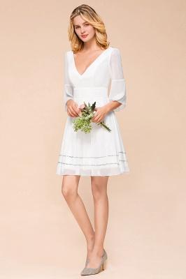Weiße Brautjungfernkleider mit Ärmel | Kurzes Brautjungfernkleid_7