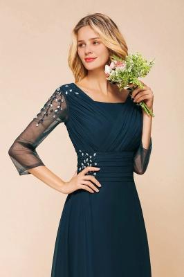 Schlichte Brautjungfernkleider mit Ärmel | Brautjungfernkleid Lang Günstig_5