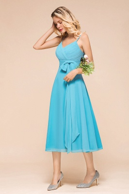 Blaue Brautjungfernkleider Kurz | Günstige Hochzeitspartykleider Online_6