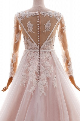 Blush pink wedding dresses with sleeves | Wedding dresses cheap online_6