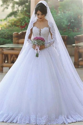 New Princess White Wedding Dresses Long Sleeves With Lace Tulle Bridal Wedding Gowns_1