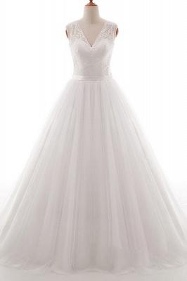Wedding dresses v neckline | Simple wedding dress A line_1