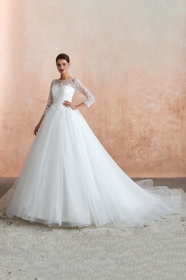 Wedding dresses with sleeves | White Wedding Dresses Lace A Line_10