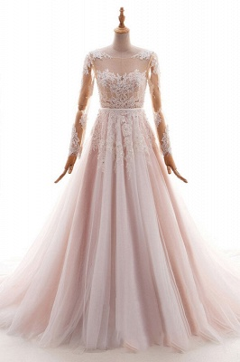 Blush pink wedding dresses with sleeves | Wedding dresses cheap online_2