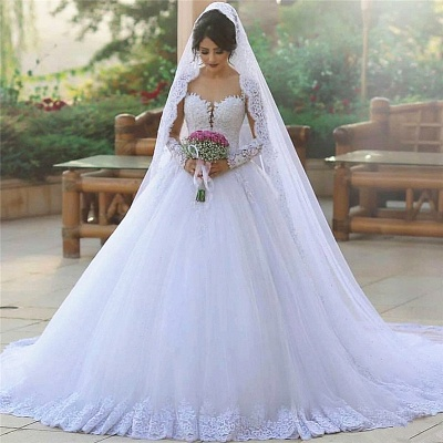 New Princess White Wedding Dresses Long Sleeves With Lace Tulle Bridal Wedding Gowns_2