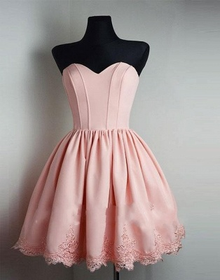 Elegant cocktail dresses short pink with lace evening dress party dresses_3