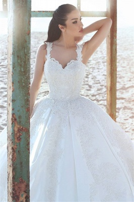 Princess wedding dresses cream with lace straps wedding dresses with train_2