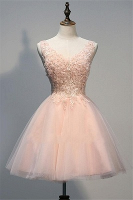 Pink Prom Dresses Evening Dresses Short With Lace A Line Tulle Evening Wear_1