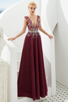 Evening dress long v neckline | Red prom dresses cheap_11
