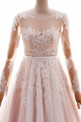 Blush pink wedding dresses with sleeves | Wedding dresses cheap online_4