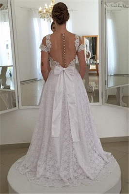 Wedding Dress Simple Lace White A Line Wedding Dresses Cheap Online_2