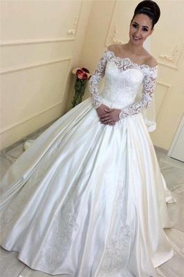Weiße Hochzeitskleider Mit Lange Ärmel Schulterfrei Satin Brautkleider Brautmoden Mit Spitze_1