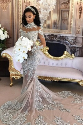 Luxury wedding dresses with sleeves mermaid wedding gowns at low prices online_1