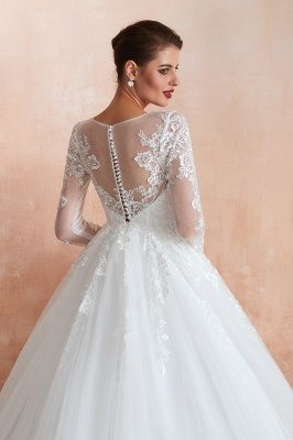 Wedding dresses with sleeves | White Wedding Dresses Lace A Line_8