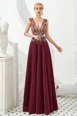 Evening dress long v neckline | Red prom dresses cheap_4