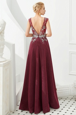 Evening dress long v neckline | Red prom dresses cheap_5