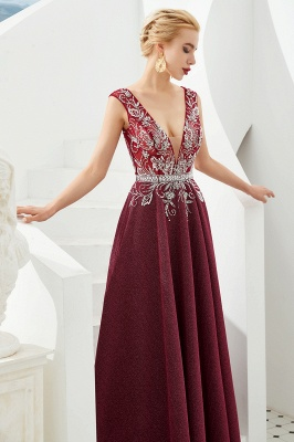 Evening dress long v neckline | Red prom dresses cheap_8