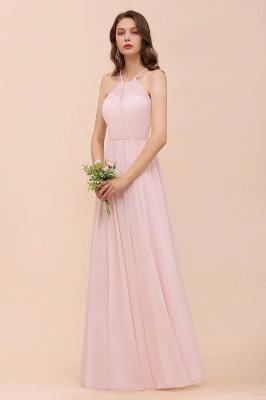 Schicke Brautjungfernkleider Lang Rosa   Chiffon Kleider Günstig_5