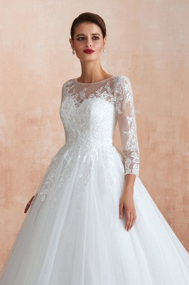 Wedding dresses with sleeves | White Wedding Dresses Lace A Line_11