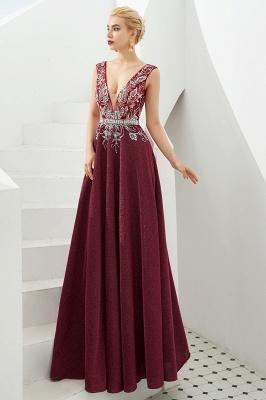 Evening dress long v neckline | Red prom dresses cheap_9