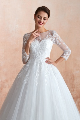 Wedding dresses with sleeves | White Wedding Dresses Lace A Line_6