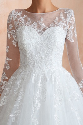 Wedding dresses with sleeves | White Wedding Dresses Lace A Line_9