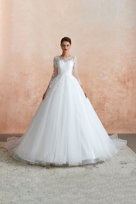 Wedding dresses with sleeves | White Wedding Dresses Lace A Line_5