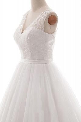 Wedding dresses v neckline | Simple wedding dress A line_5