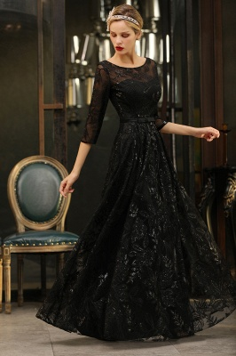 Evening dress long black | Prom dresses with sleeves_8