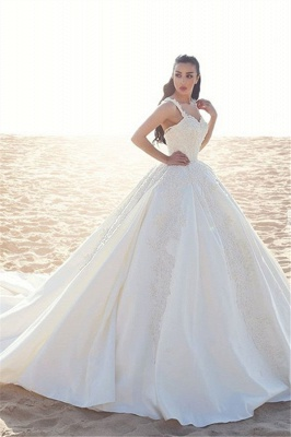 Prinzessin Hochzeitskleider Creme Mit Spitze Träger Brautkleider Mit Schleppe_1