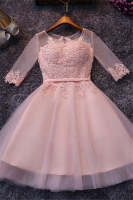 Cheap Prom Dresses Short With Sleeves A Line Evening Wear Online_1