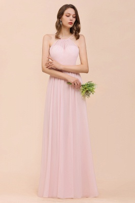Schicke Brautjungfernkleider Lang Rosa   Chiffon Kleider Günstig_4