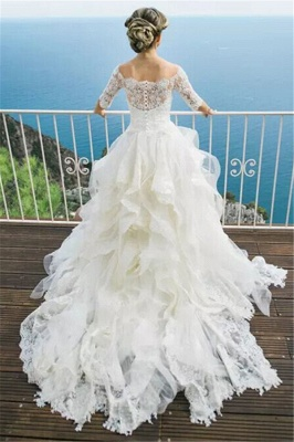 White Wedding Dresses Long Sleeves Lace A Line Organza Bridal Wedding Dresses With Train_2