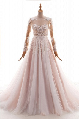 Blush pink wedding dresses with sleeves | Wedding dresses cheap online_1